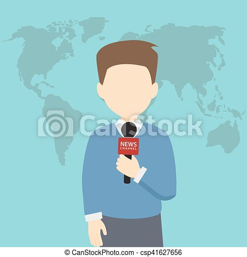 World News Reporter With Microphone