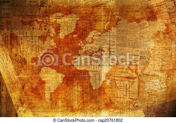 World Of News Background Vintage Newspapers Overlay On World Map