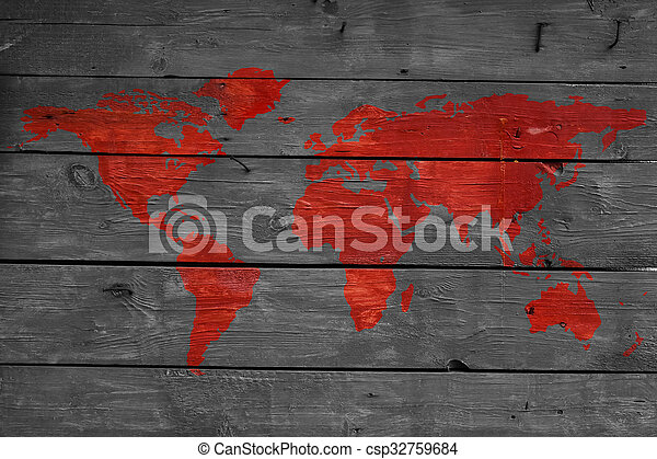 World on fire wooden texture with map. World on fire, red world map ...