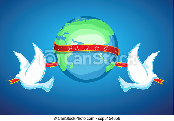 illustration of world peace with globe and birds on white background