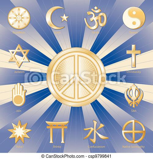 World Peace Many Faiths Gold Symbols Of 12 World Religions With