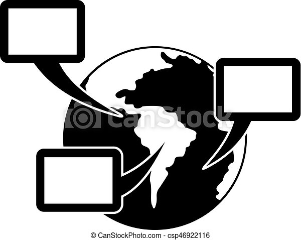 World planet and speech bubbles icon simple style world vector world planet and speech bubbles icon simple style csp46922116 publicscrutiny Choice Image