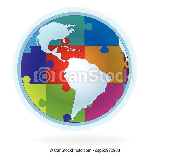 World puzzle map logo - csp52972983