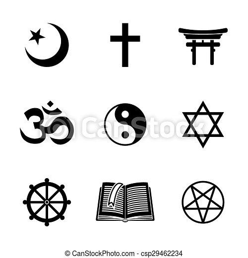 World Religion Symbols Set With Christian Jewish Islam Buddhism