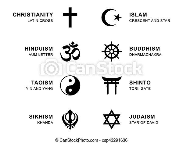 World Religion Symbols With English Labeling World Religion Symbols
