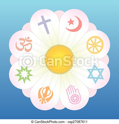 World Religions Flower Symbols World Religion Symbols On Petals Of