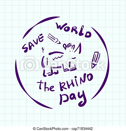 World Rhino Day doodle style sticker. Creative emblem hand drawn. Depicts a cartoon rhino in a circle. With an inscription. For creating logo, banner, web design, printing on clothes, decorating room - csp71834442