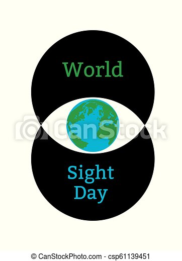 World Sight Day. Concept of a holiday of health. Symbolic image of the eye. Iris is the planet Earth. Two circles forming the eye - csp61139451