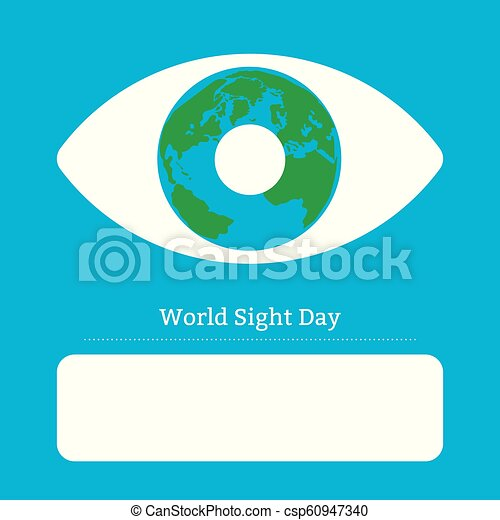 World Sight Day. Concept of a holiday of health. Symbolic image of the eye. Iris is the planet Earth. Place for text - csp60947340