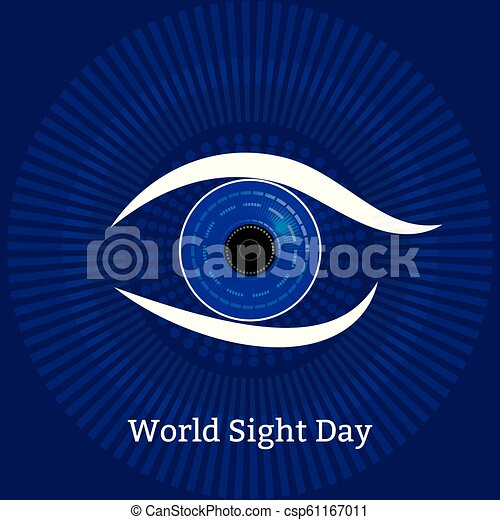World Sight Day. Concept of a holiday of health. Symbolic image of the eye. Technological textures - computer diagnostics of diseases - csp61167011