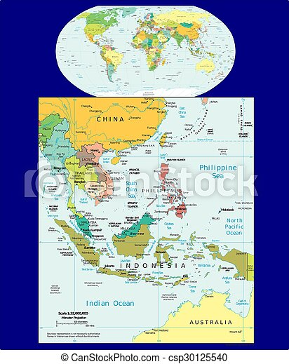 World southeast asia political map aerial view.