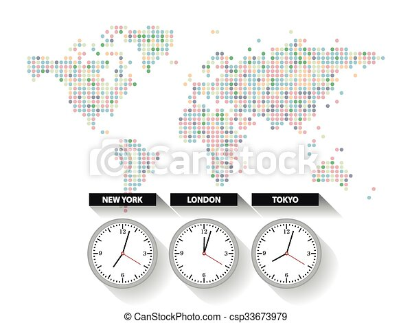 World time dotted world map with different time zone clocks vectors world time csp33673979 gumiabroncs Images