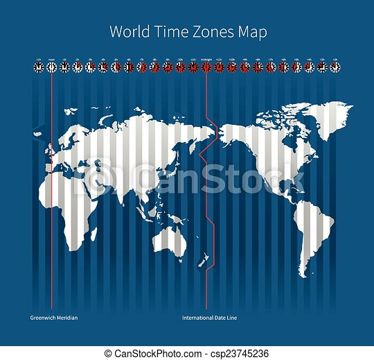 World time zones map on blue background vectors search clip art world time zones map csp23745236 gumiabroncs Image collections