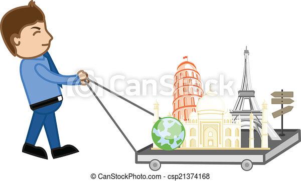 World Tour Cartoon Concept Vector Cartoon Vector Travel World