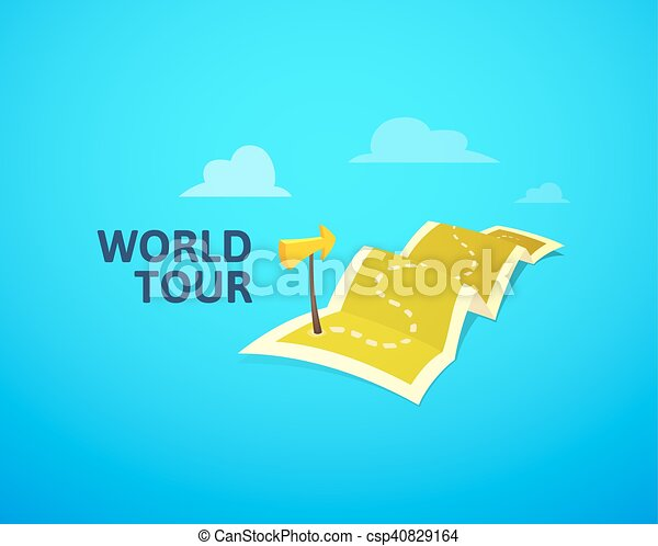World tour concept logo long route in travel map with guide world tour concept logo long route in travel map with guide marker vector gumiabroncs Choice Image