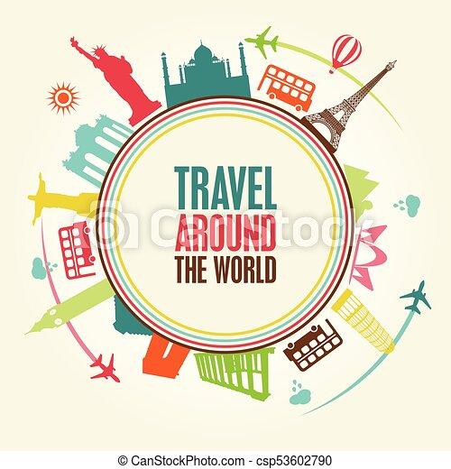 World Tour Travel Theme Vector Art Illustration