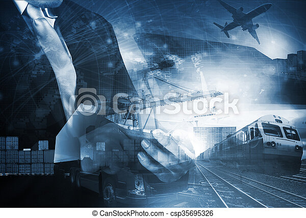 world trading with industries truck, trains, ship and air cargo freight logistic background use for all import export transportation theme - csp35695326