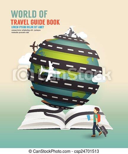World travel design open book guide concept vector illustration. - csp24701513