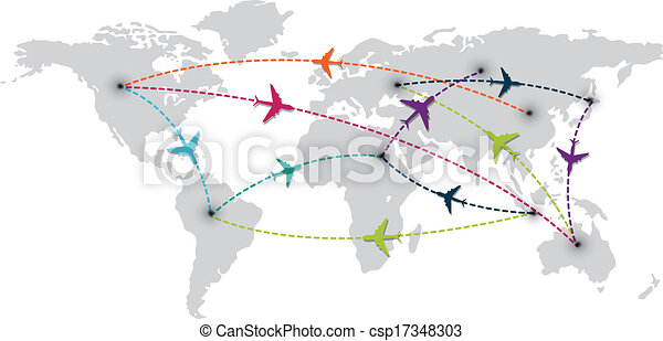 Vector illustration of world travel with map and air planes vector world travel with map and air plane csp17348303 gumiabroncs Images