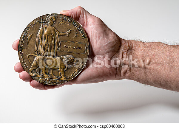 World War 1 Memorial plaque for soldier who died in 1916 - csp60480063