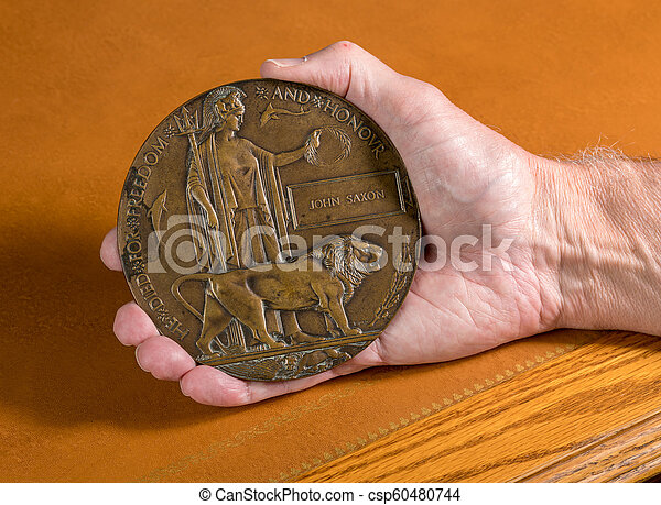 World War 1 Memorial plaque for soldier who died in 1916 - csp60480744