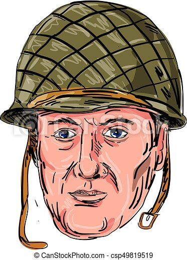 World War Two American Soldier Head Drawing Illustration Of A World