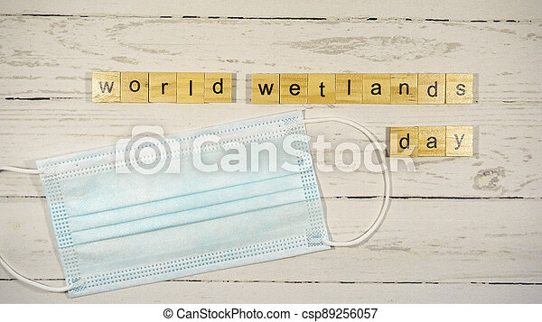 World Wetlands Day.words from wooden cubes with letters - csp89256057