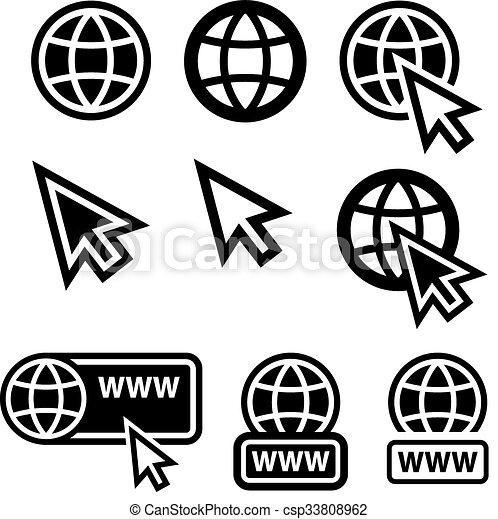 world wide web globe cursor icons - csp33808962