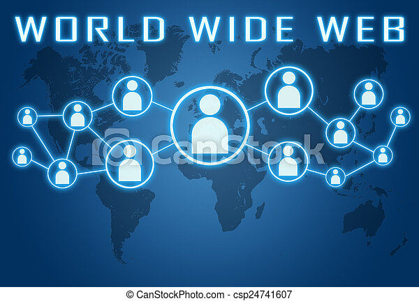 World wide web concept on blue background with world map and social world wide web concept on blue background with world map and social icons gumiabroncs Choice Image