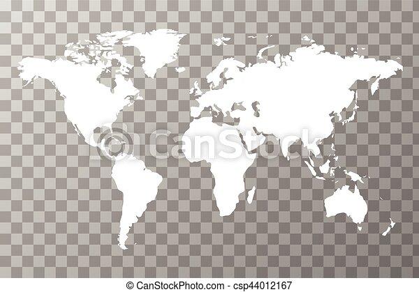 Detailed white worldwide map on transparent background clip art worldwide map on transparent background csp44012167 gumiabroncs Choice Image