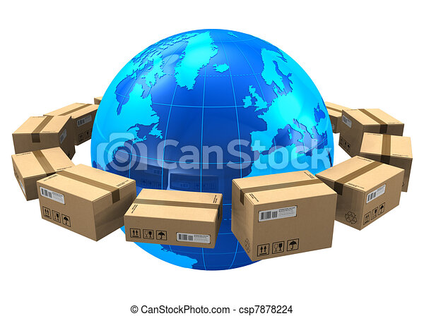 worldwide shipping concept row of cardboard boxes around blue earth rh canstockphoto com shopping clip art pictures shipping clip art free