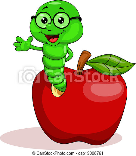 Worm and apple - csp13008761