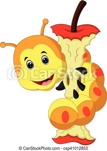 Worm Eating Apple Cartoon