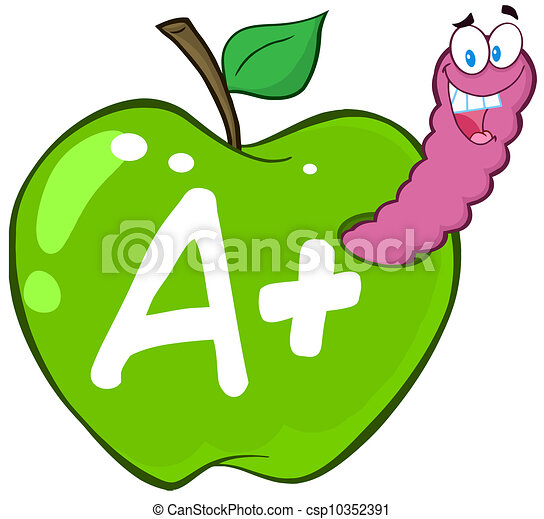 Worm In Green Apple With Letter A - csp10352391