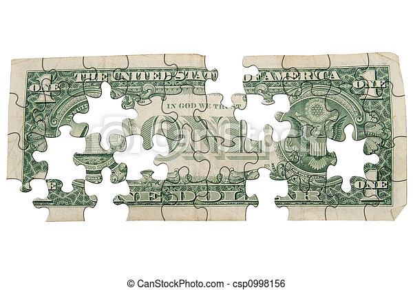 Worn One dollar bill backside - csp0998156