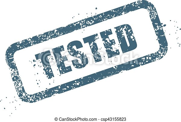 Worn stamp with word tested - verified sign - csp43155823