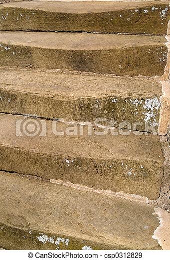 Worn stone steps - csp0312829