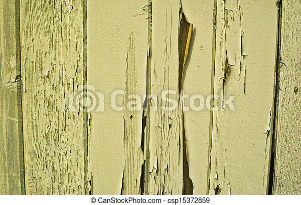 Worn Yellow Fence - csp15372859
