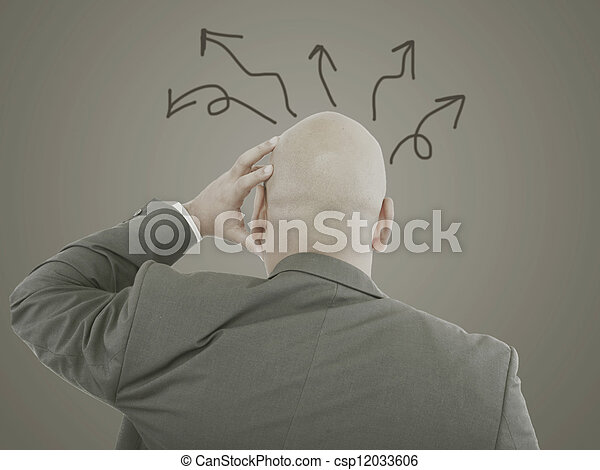 Worried businessman with arrows in different directions - csp12033606