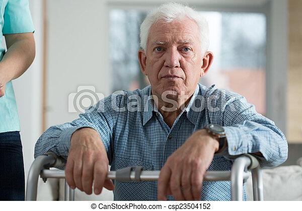 Worried disabled senior man - csp23504152