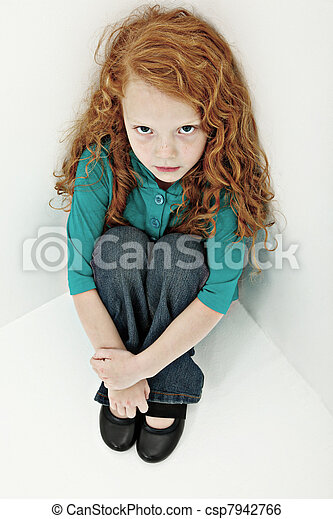 Worried Sad Girl Child in Sitting in Corner - csp7942766