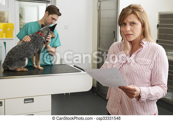 Worried Woman Looking At Bill In Veterinary Surgery - csp33331548