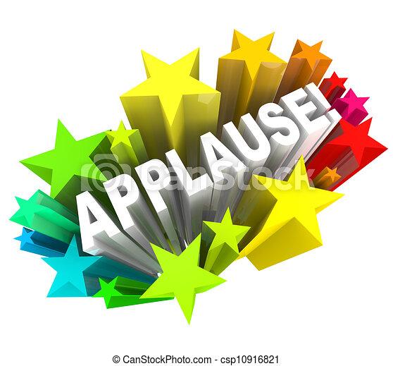 Wort, beifall, ovation, anerkennung, sternen, zustimmung.... Clipart ...
