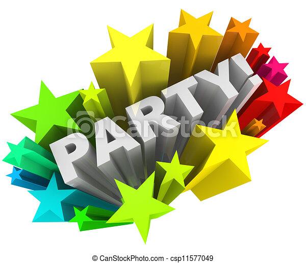 Wort, Bunte, Starburst, Sternen, Einladung, Spaß, Party, Ereignis Stock  Illustration