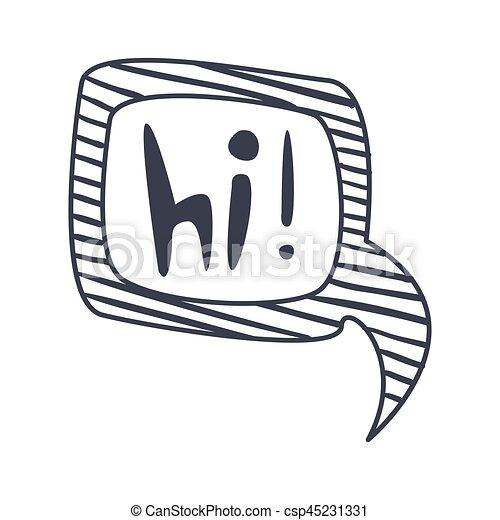 Wort, clipart, hallo, gegenstand, freigestellt, hand, schwarz ...