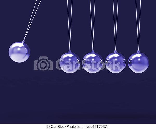 Fünf silberne Newtonen wiegen Leerkugeln, Kopierraum für 5 Buchstaben - csp16179874