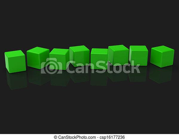 Acht leere Blöcke zeigen Kopien für acht Buchstaben - csp16177236