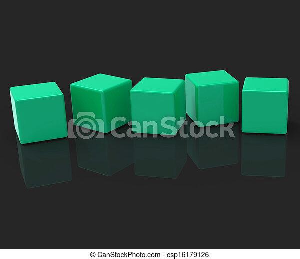 Fünf leere Blöcke zeigen Kopierraum für 5 Buchstaben - csp16179126