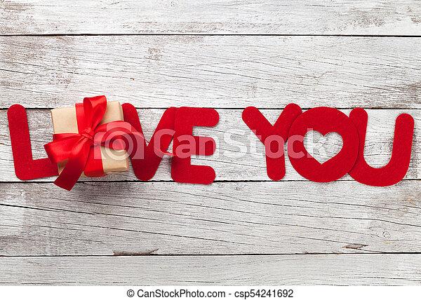 wort, geschenk, valentines, gruß, liebe, tag, karte - csp54241692