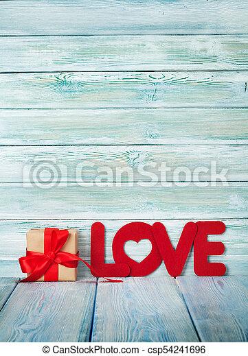 wort, geschenk, valentines, gruß, liebe, tag, karte - csp54241696